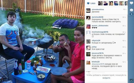 Семья Железняк в гостях у Бородиной на даче