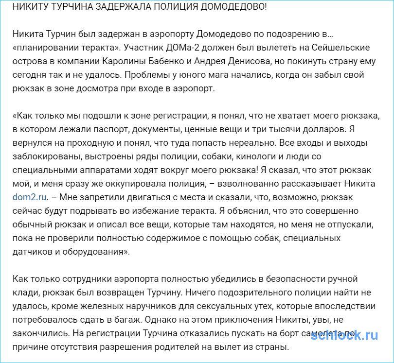 Никиту Турчина задержала полиция Домодедово!